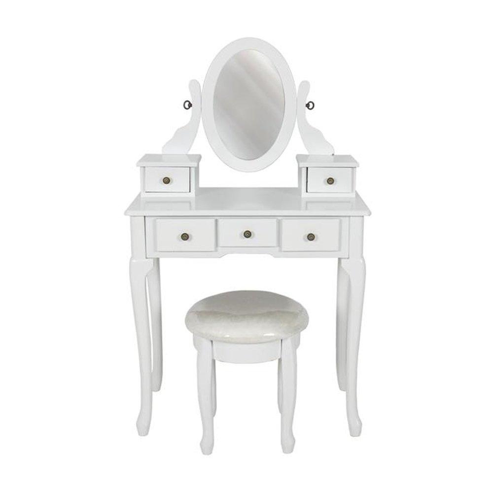 Bathroom Vanity Table Set Makeup Desk With Mirror - White