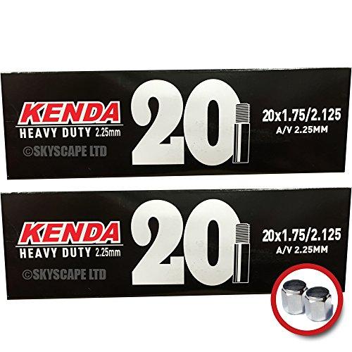 2 x Kenda HEAVY DUTY (2.25mm Thick) Inner Tubes - 20 x 1.75 - 2.125 - Schrader / Auto Valve - PAIR - FREE SHIPPING! FREE VALVE CAP UPGRADE WORTH (Kenda Heavy Duty Tube)