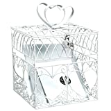 """Traditional Wedding Party White Heart Metal Cage Card Holder Box With Lock and Key, Metal, 8"""" x 8"""" x 8"""""""