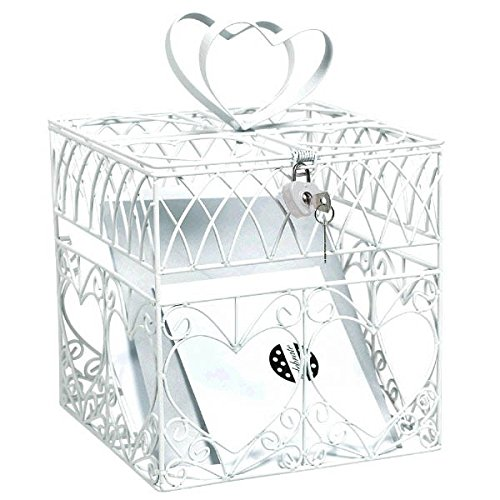 Amscan Traditional Wedding Party White Heart Metal Cage Card Holder Box With Lock and Key, Metal, 8