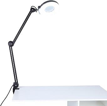Lampe Loupe LED, Lampe Loupe de Table Esthétique Réglable 8 Dioptries Grossissement avec Eclairage Lampe de Table avec Pince pour Esthétique Lecture
