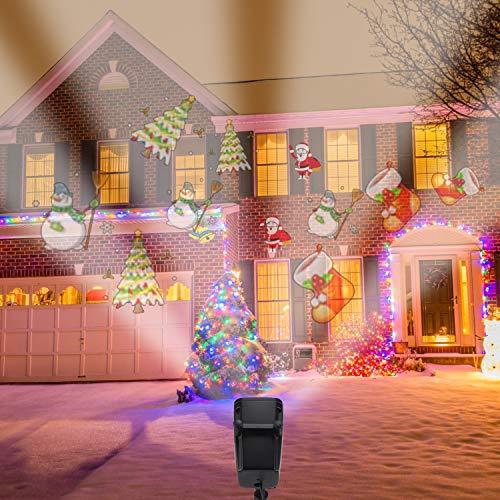 LED Christmas Projector Light Snow Falling Night Lights White Snowflake R/áfagas Rotating Snowfall Spotlight Outdoor Indoor Landscape Iluminaci/ón Decorativa para la Boda Etapa de A/ño