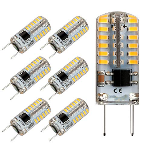 G8 LED Bulb Dimmable Mini 2.5Watt Warm White 2700k-3000K 120V T4 G8 Base Bi-pin 20W Halogen Xenon Replacement, T4 JCD Type, Light Bulb for Kitchen Light (6-Pack)