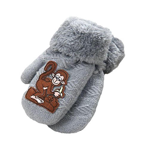 Gotd Kids Girl Boy Monkey Thick Warm Winter Gloves 1-8Years (Gray)