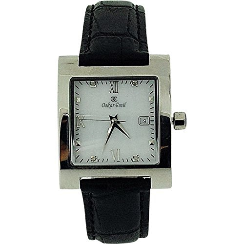 Oskar Emil Ladies St Petersburg 4 Diamond Black Genuine Leather Watch