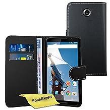 Nexus 6 Case, FoneExpert® Premium Leather Flip Book Wallet Case Cover For Nexus 6 + Screen Protector & Cloth (Black)