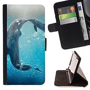 Dragon Case- Mappen-Kasten-Prima caja de la PU billetera de cuero con ranuras para tarjetas, efectivo Compartimiento desmontable y correa para la mu?eca FOR Samsung Galaxy S3 III I9300 I9308 I737- Dolphins sea