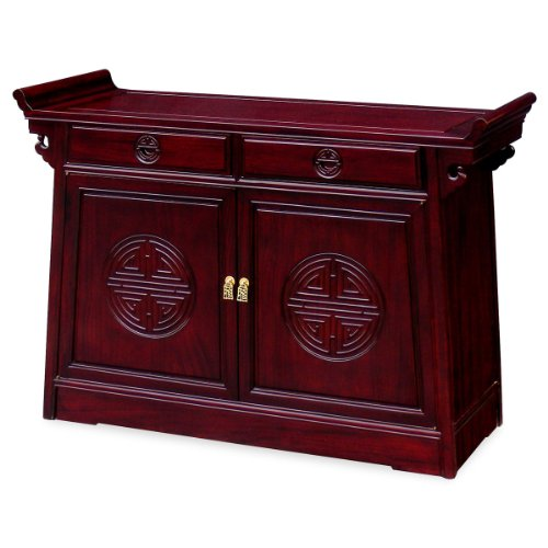 China Furniture Online Rosewood Cabinet, 48 Inches Longevity Motif Altar Style Cabinet Cherry (Altar Style Cabinet)