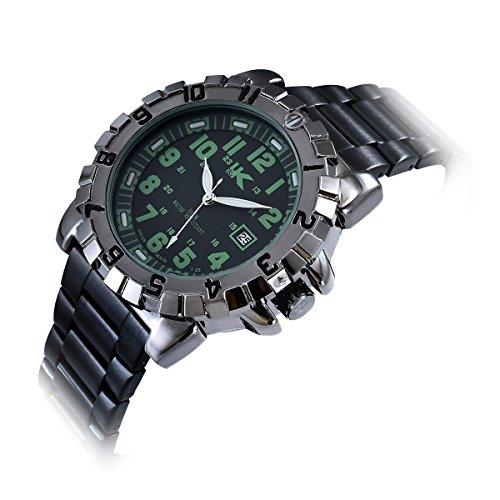 Yaki Coole Herrenuhren Wasserdicht Uhren Quarz Armbanduhr Arabische Ziffern Grün Rund mit Schwarz Metallarmband