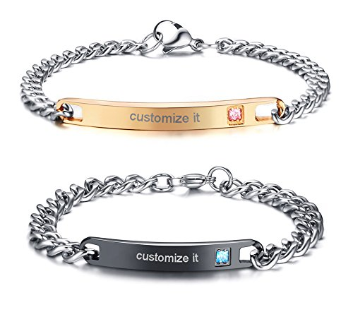 Personalized Gift Custom Engraving His and Hers Couples Stainless Steel Nameplate Bar Bracelets Set for Men Women