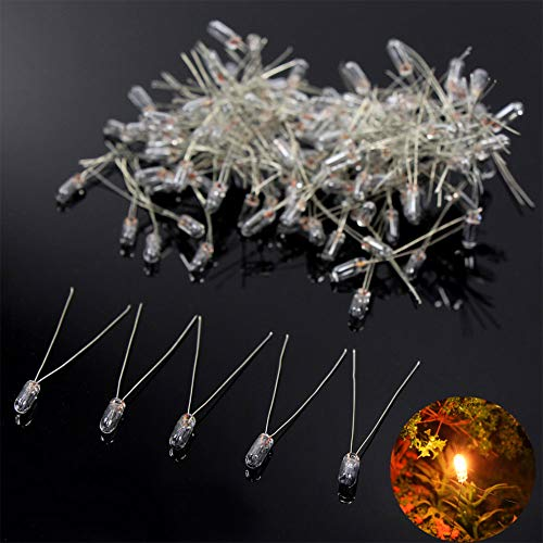 MP02W 100pcs 3mm Clear Miniature 12V 60mA Grain of Wheat Bulbs Warm White for Model Train Layout or Architectural Project