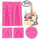 YuBoBo Unicorn Silicone Mold Unicorn Horn Ears and Eyelash Cake Topper Molds 3D Unicorn Cake Mold Set Fondant Cake Decoration Molds For Birthday/Party Cake Decoration Made (Set of 5)