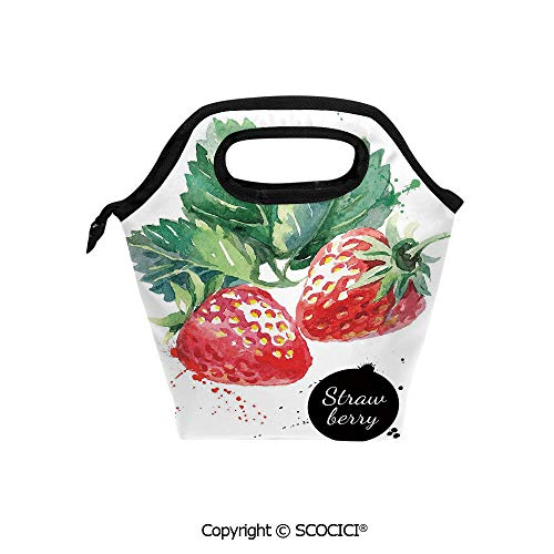 Insulation portable lunch box bag Appetizing Strawberries with Hand Drawn Style Brush Marks Good Eats Food Soft Fabric lunch bag Mummy bag.]()