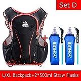 POJNGSN Hydration Pack Backpack Rucksack Bag Vest Harness Water Bladder Hiking Camping Running Race Sports 5L Set D