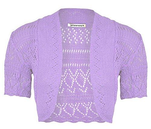 Girls Kids Short Sleeve Crochet Knitted Bolero Shrug Open Cardigan Crop Top Lilac