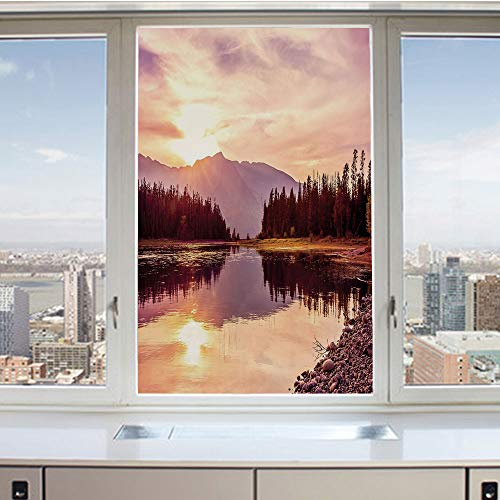 (3D Decorative Privacy Window Films,Grand Teton Mountain Range at Sunset Jackson Lake Calm National Park USA Decorative,No-Glue Self Static Cling Glass film for Home Bedroom Bathroom Kitchen Office 24x )