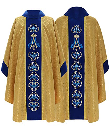 Gold/blue Marian Gothic Chasuble Vestment 766-AGN61g - Brocade Chasuble