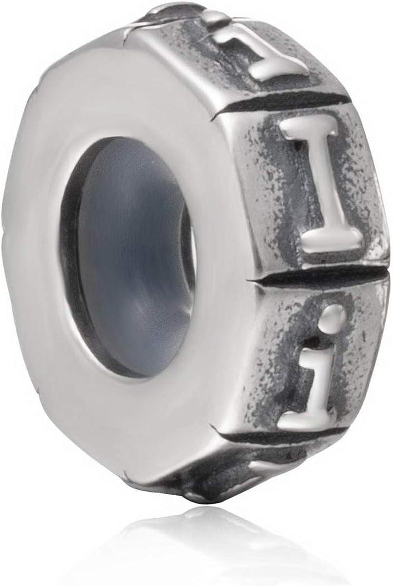 /Lettre Perles A-Z lettres de lalphabet Bouchon en caoutchouc Perle pour bracelet pour cha/îne serpent europ/éen Argent sterling 925/