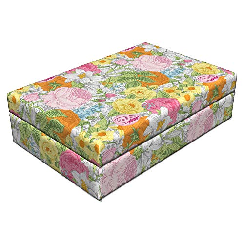Lunarable Romantic Pet Bed, Blooming Spring Roses Daffodils and Tulips Colorful Valentine's Day Love Bouquet, Animal Mat Foam and Stylish Printed Cover, 24