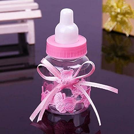 JZK 24 Rosa botella botellas cajas dulces porta dulces confeti regalo para nacimiento bautizo bautismo cumpleaños fiesta bienvenida bebé sagrada ...