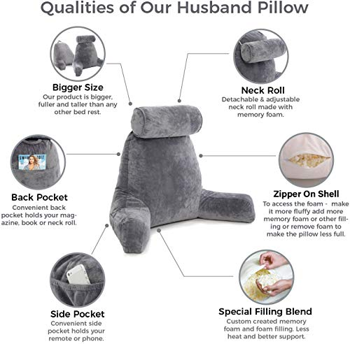 Husband Pillow - Dark Grey