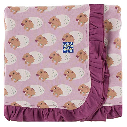 KicKee Pants Little Girls Print Ruffle Stroller Blanket - Sweet Pea Diictodon, One - Pea Fleece Sweet Blanket