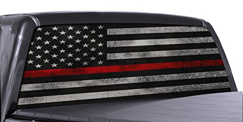 (FGD Brand Truck Rear Window Firefighter Thin RED Line American Flag Perforated Vinyl Decal Wrap)