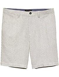 Mens Aiden-Fit Linen Blend Grey Stripe Shorts