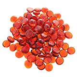 MagiDeal 100Pcs Flat Glass Marble Pebbles Vase Fillers Decor Orange