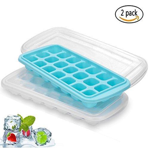 Ice cube bandejas con tapas, 21 cubitos de hielo moldes con funda ...