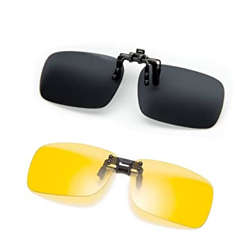 Cyxus sonnenbrille polarisiert Clip auf Flip Up, UV Schutz Gläser,Fahren/Fischerei/Sport/Night vision eyewear [2 Sätze]