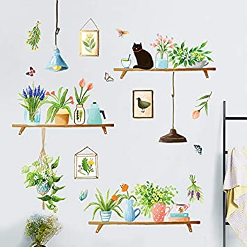 Jardín Fresco Planta Colgante Mesa En Maceta Adornos Pared Pegatina Arte Sala De Estar Comedor Comedor Pintura De Autorpasta: Amazon.es: Bricolaje y herramientas