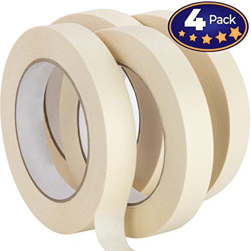 Nova Supply 3/4 in Pro-Grade Masking Tape. 60 Yard Roll 4 Pack = 240 Yards of Multi-Use, Easy Tear Tape. Great for Labeling, Painting, Packing and More. Adhesive Leaves No ()