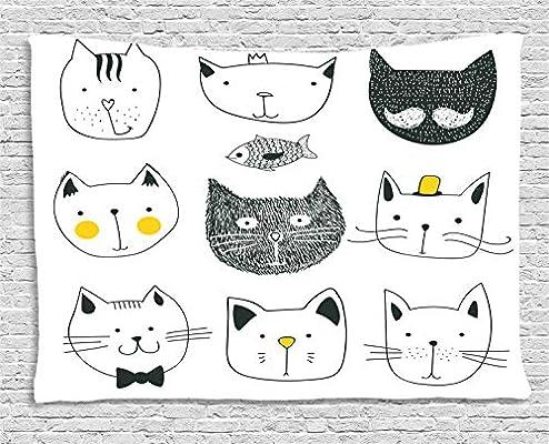 ABAKUHAUS Gato Tapiz de Pared, Gatos con Estilo Suaves Bigote Moño ...