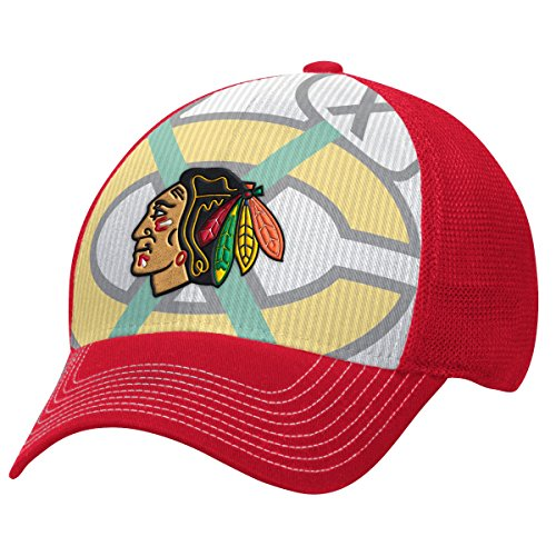 NHL Chicago Blackhawks Men's Face-Off Formation Structured Flex Cap, Small/Medium, Red
