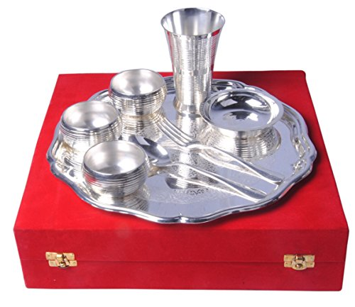 SHIV SHAKTI ARTS Handmade Pure Silver Plated Brass Thali Set Composed Of 8 Pieces (1 Thali 3 Bowl 1 Puding Plate 1 Spoon 1 Fork & 1 Glass) Hotelware Dinnerware Homeware Item (Silver Plated Jug)