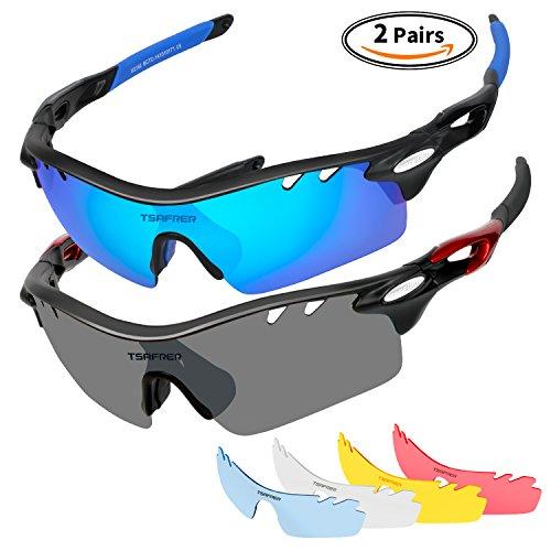 Tsafrer Polarized Sports Sunglasses 2 Pairs for Men Women Cycling Running Driving Baseball Golf Fishing Glasses by Tsafrer
