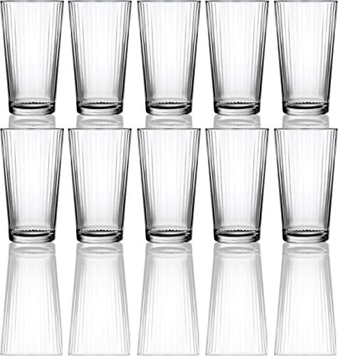 (Circleware 40106 Hill Street Huge Set of 10 Highball Tumbler Drinking Glasses, 15.75 oz, Heavy Base Ice Tea Beverage Cups Glassware for Water, Beer, Juice, Bar, Farmhouse Decor Gifts, 10pc, Spectrum)
