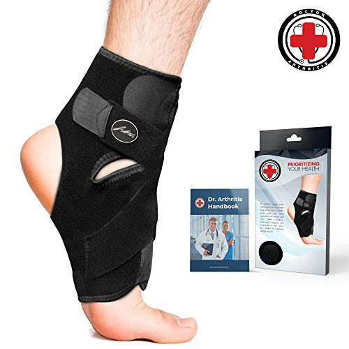 Doctor Developed Premium Copper Lined Ankle Support Brace [Single] and Doctor Written Handbook -Guaranteed Relief & Support for Ankle Injuries and Other Ankle - Copper Angle