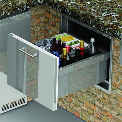 Alfresco Under Counter Ice Drawer and Insulated Beverage Center (Axe-ID), 26-Inch