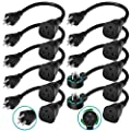 BULL 10 Pack 14AWG Short Power Extension Cord, Two 360 degree Rotating Flat Plug Cords included, 1875W Outlet Saver, 15A Electrical Appliance Cable, 1 Foot 3 Prong Grounded Cord [UL Listed]