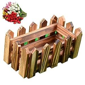 Gotd Wood Picket Fence Planter For Home Decor,Wedding Decor (#2)
