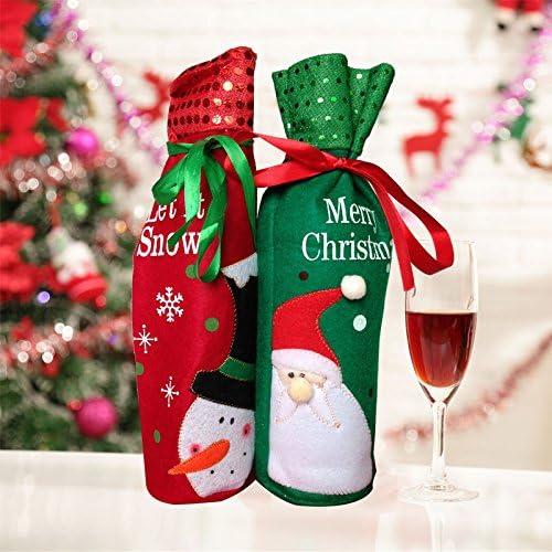 Lumanuby 1 Paar Flaschen Beutel Flanell Material Bottlebag Netter Schneemann und Weihnachtsmann Bild Flaschen abdeckung für Wein Flasche Weihnachten Tasche für Weihnachts Geschenk Verpackung Größe: 30cm*12.5cm