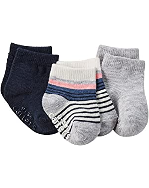 Carter's Unisex 3-Pack Striped Socks; Pink, Grey and Blue 0-3M