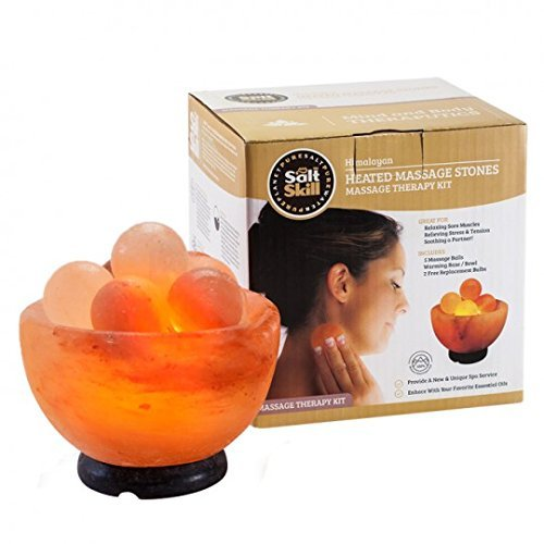 Massage Bowl with Stone, 15 Watt Bulb and Electric Cord Included - Air Purifier Ionic Salt Rock Lamp ()