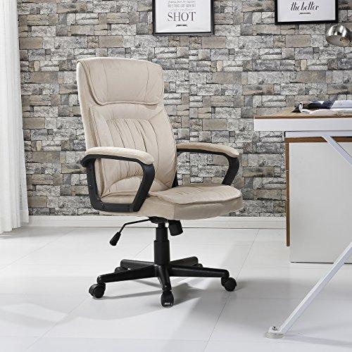 Contoured Foam Ergonomic Leather Recliner - Belleze Executive Office Microfiber High Back Padded Lumbar Chair, Light Beige