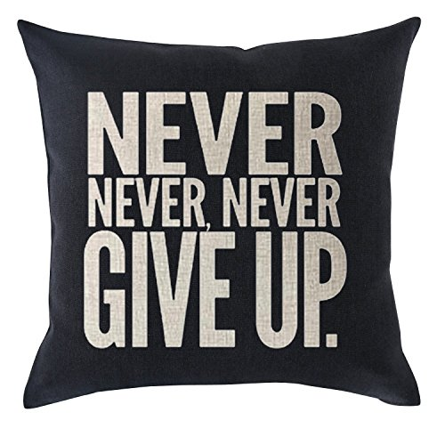 Sports Throw - Bnitoam Inspirational Sport Phrase Never Never Never give UP Cotton Linen Throw Pillow Covers Case Cushion Cover Sofa Decorative Square 18 x 18 inch (2)