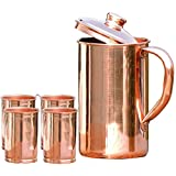 SKAVIJ Pure Copper Jug with Lid and 4 Tumblers Set Luxury Style For Christmas Gifts Water Pitcher For Ayurveda Health Benefits Capacity 54 oz