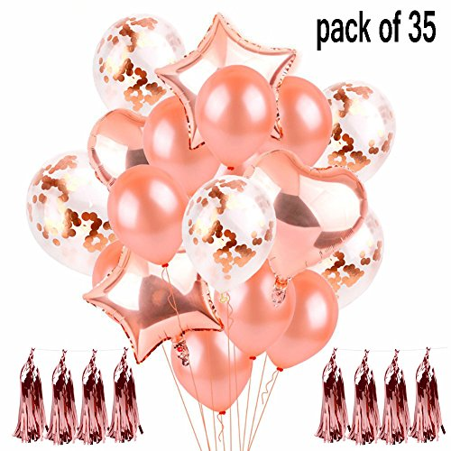 35 Pcs Rose Gold Confetti Balloon Set Balloons Decorations|Latex Party Balloons for Weddings, Birthdays, Bridal Shower, Baby Shower, Party Decorations, Valentine's Day, Prom, Holidays 12 Inch 18 Inch -