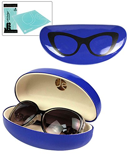 JAVOedge Shiny Dark Blue Glasses Design Hard Clamshell Sunglass / Eyeglass Case + Bonus Microfiber Cleaning Cloth